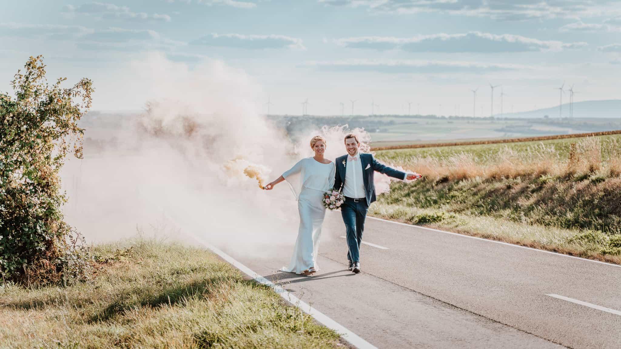 Rauchbombe Hochzeit Alzey Hochborn Feierwerk